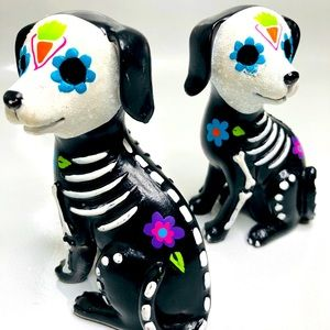 Day of the Dead Decor Dog Figurines Set/2